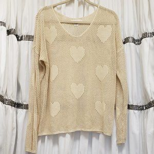 Forever 21 + Sugar Cookie Cream Open Knit Heart 3X